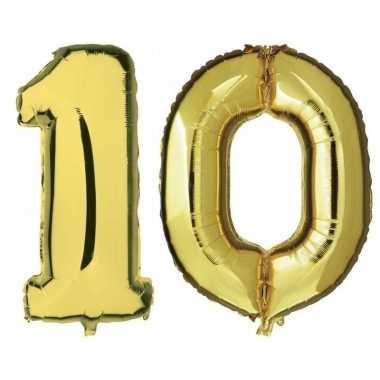 10 jaar gouden gefeliciteerd ballonnen 88 cm leeftijd/cijfer