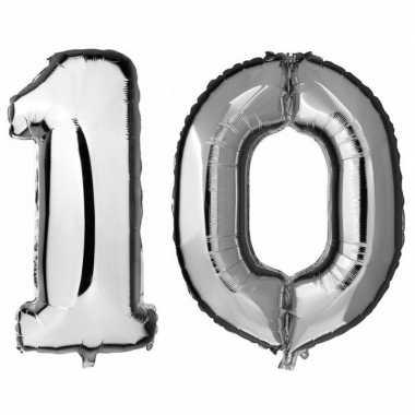 10 jaar zilveren gefeliciteerd ballonnen 88 cm leeftijd/cijfer