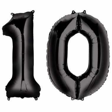 10 jaar zwarte gefeliciteerd ballonnen 88 cm leeftijd/cijfer
