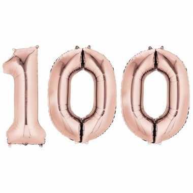 100 jaar rose gouden gefeliciteerd ballonnen 88 cm leeftijd/cijfer