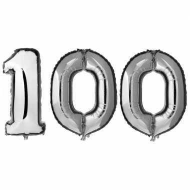 100 jaar zilveren gefeliciteerd ballonnen 88 cm leeftijd/cijfer