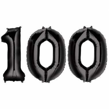 100 jaar zwarte gefeliciteerd ballonnen 88 cm leeftijd/cijfer