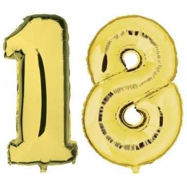 18 jaar gouden gefeliciteerd ballonnen 88 cm leeftijd/cijfer