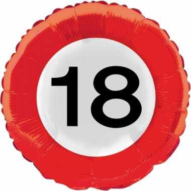 18 jaar thema verkeersbord gefeliciteerd ballon