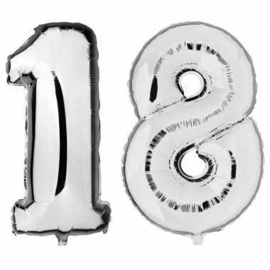 18 jaar zilveren gefeliciteerd ballonnen 88 cm leeftijd/cijfer
