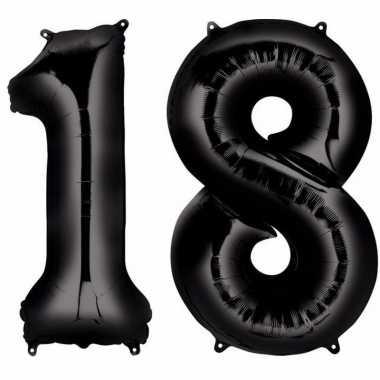 18 jaar zwarte gefeliciteerd ballonnen 88 cm leeftijd/cijfer