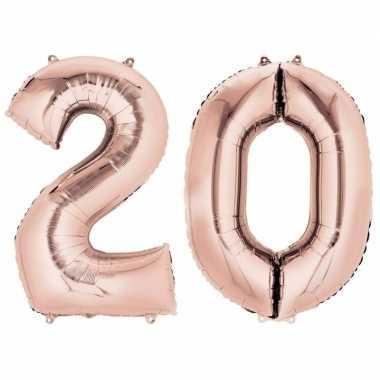 20 jaar rose gouden gefeliciteerd ballonnen 88 cm leeftijd/cijfer