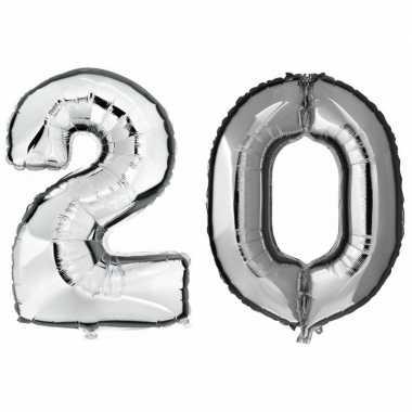 20 jaar zilveren gefeliciteerd ballonnen 88 cm leeftijd/cijfer