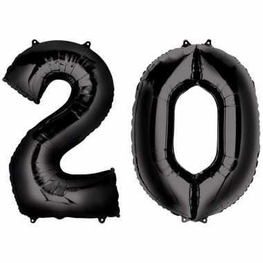 20 jaar zwarte gefeliciteerd ballonnen 88 cm leeftijd/cijfer