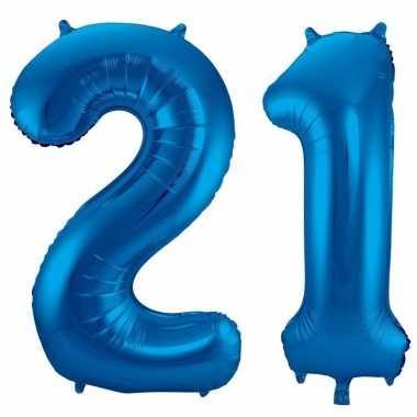 21 jaar blauwe gefeliciteerd ballonnen 86 cm leeftijd/cijfer