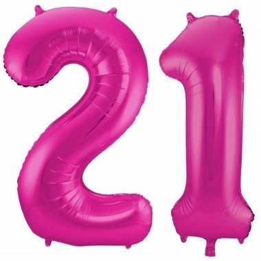 21 jaar roze gefeliciteerd ballonnen 86 cm leeftijd/cijfer