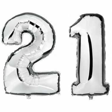 21 jaar zilveren gefeliciteerd ballonnen 88 cm leeftijd/cijfer
