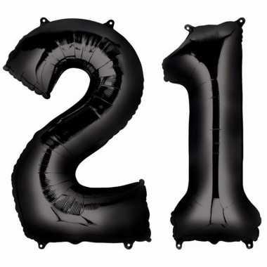 21 jaar zwarte gefeliciteerd ballonnen 88 cm leeftijd/cijfer