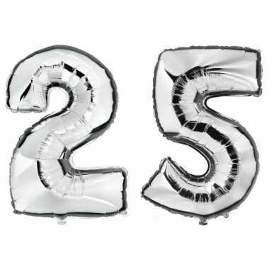 25 jaar zilveren gefeliciteerd ballonnen 88 cm leeftijd/cijfer