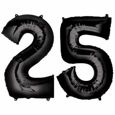 25 jaar zwarte gefeliciteerd ballonnen 88 cm leeftijd/cijfer
