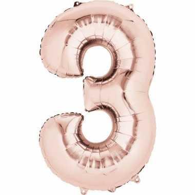 3 jaar versiering cijfer ballon rose goud