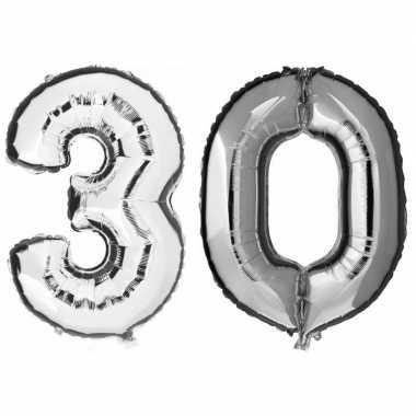 30 jaar zilveren gefeliciteerd ballonnen 88 cm leeftijd/cijfer