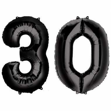 30 jaar zwarte gefeliciteerd ballonnen 88 cm leeftijd/cijfer