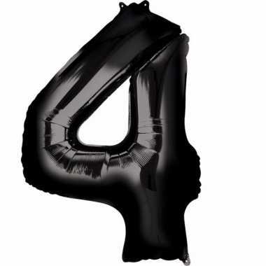 4 jaar versiering cijfer ballon zwart