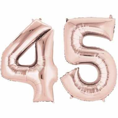 45 jaar versiering cijfer ballon rose goud