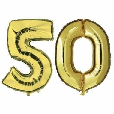 50 jaar gouden gefeliciteerd ballonnen 88 cm leeftijd/cijfer
