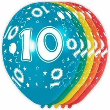 5x stuks 10 jaar thema versiering heliumballonnen 30 cm