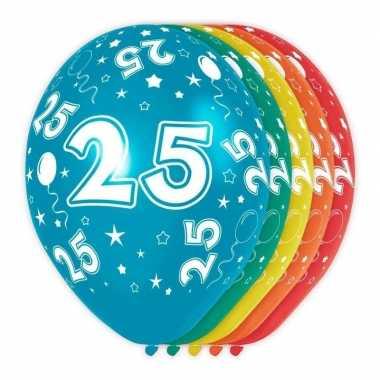 5x stuks 25 jaar thema versiering heliumballonnen 30 cm