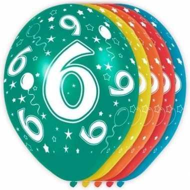 5x stuks 6 jaar thema versiering heliumballonnen 30 cm