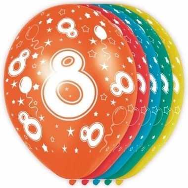 5x stuks 8 jaar thema versiering heliumballonnen 30 cm