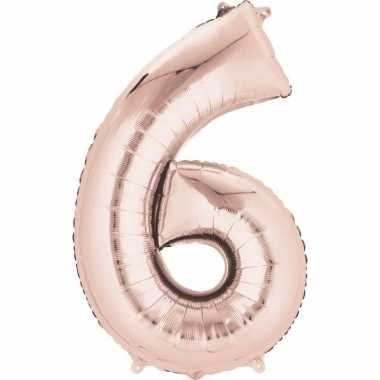 6 jaar versiering cijfer ballon rose goud