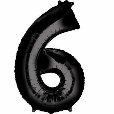 6 jaar versiering cijfer ballon zwart