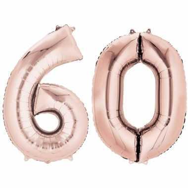 60 jaar versiering cijfer ballon rose goud