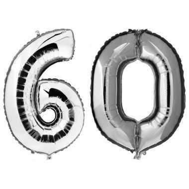 60 jaar zilveren gefeliciteerd ballonnen 88 cm leeftijd/cijfer