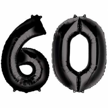 60 jaar zwarte gefeliciteerd ballonnen 88 cm leeftijd/cijfer