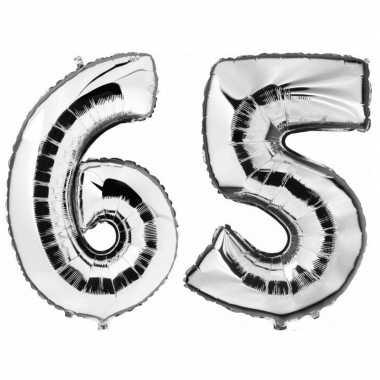 65 jaar zilveren gefeliciteerd ballonnen 88 cm leeftijd/cijfer