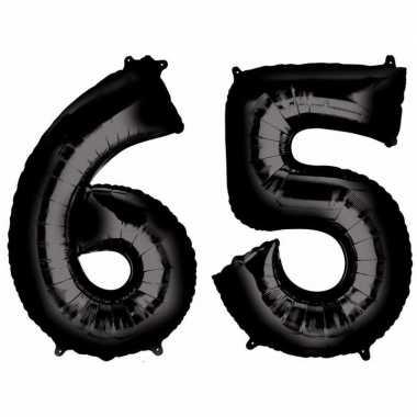 65 jaar zwarte gefeliciteerd ballonnen 88 cm leeftijd/cijfer