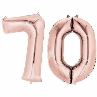 70 jaar versiering cijfer ballon rose goud