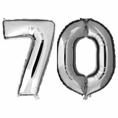70 jaar zilveren gefeliciteerd ballonnen 88 cm leeftijd/cijfer