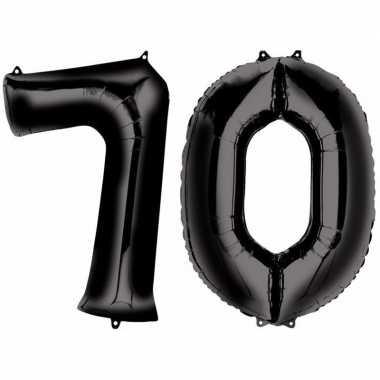 70 jaar zwarte gefeliciteerd ballonnen 88 cm leeftijd/cijfer