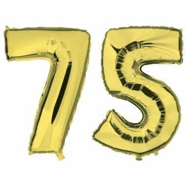 75 jaar gouden gefeliciteerd ballonnen 88 cm leeftijd/cijfer