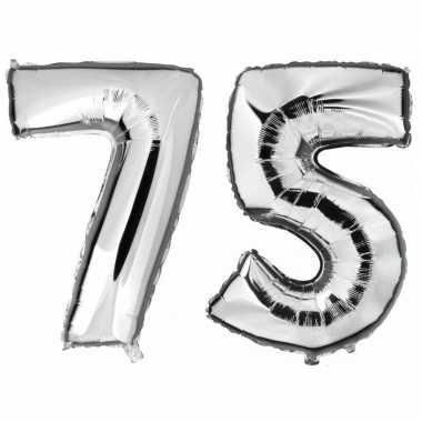 75 jaar zilveren gefeliciteerd ballonnen 88 cm leeftijd/cijfer