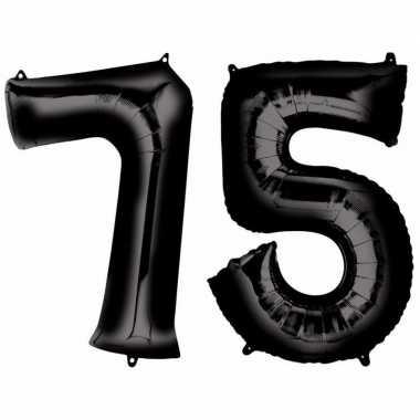 75 jaar zwarte gefeliciteerd ballonnen 88 cm leeftijd/cijfer