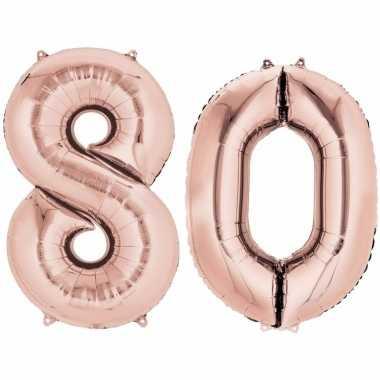80 jaar versiering cijfer ballon rose goud