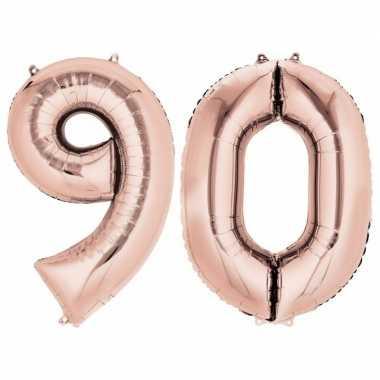 90 jaar rose gouden gefeliciteerd ballonnen 88 cm leeftijd/cijfer