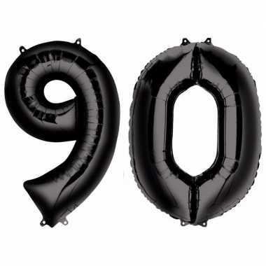 90 jaar zwarte gefeliciteerd ballonnen 88 cm leeftijd/cijfer