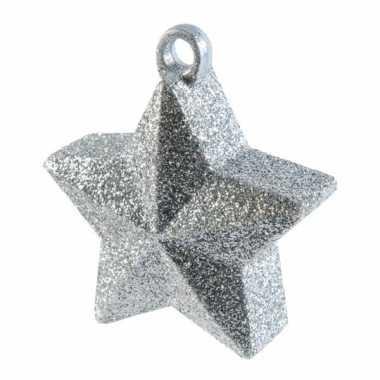 Ballon gewichtje zilveren glitter ster