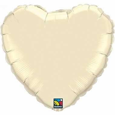 Bruiloft ivoor witte hartjes gefeliciteerd ballon 45 cm