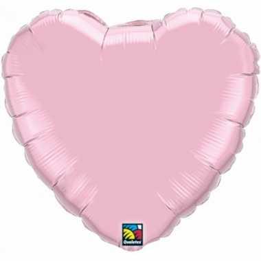 Bruiloft lichtroze hartjes gefeliciteerd ballon 45 cm