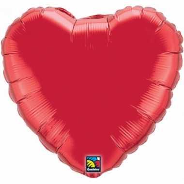 Bruiloft rode hartjes gefeliciteerd ballon 45 cm