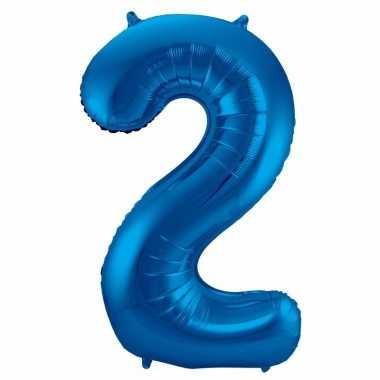 Cijfer 2 ballon blauw 86 cm